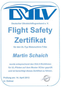 Flight Safety Zertifikat 2013