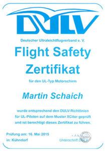 Flight Safety Zertifikat 2015